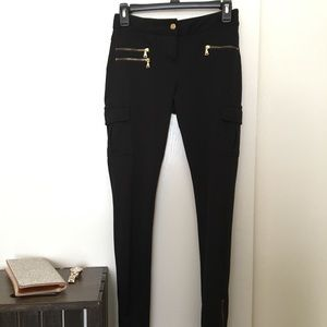 Express Black Cargo leggings/ pants. Gold zippers